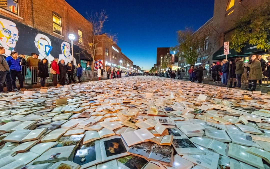 Ann Arbor's Liberty Street Transformed into a Sea of 11,000 Glowing Books!